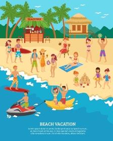 Beach scene flat. Summer beach vacation scene with flat people silhouettes vector illustration