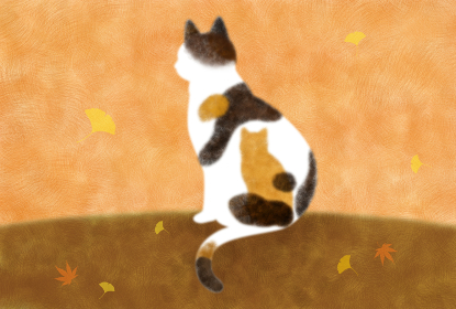 秋とミケ猫、イチョウともみじの降る風景