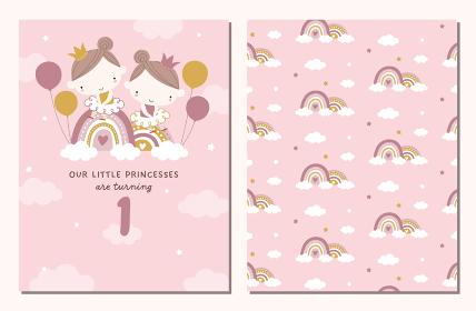 かわいい双子のプリンセスと虹の誕生日パーティー招待状とパターンのセット