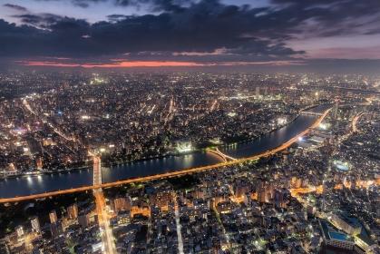 東京都・墨田区 東京スカイツリーからの夕景