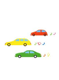 3台の車と音符
