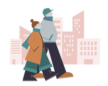 マスクをつけて秋から冬の街を歩く若い男性と女性,カップル
