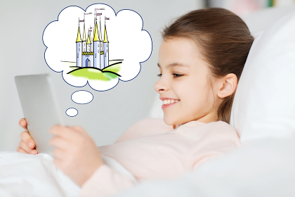 happy girl with tablet pc dreaming of fairy castle