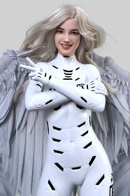 大きく強い翼を持ったブロンドヘアの女性が白いボディスーツを着て腕を組みピースサインをしている