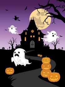ハロウィンのイラスト お化け屋敷と幽霊とカボチャのランタン