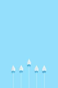 1機だけ前に飛び出した紙飛行機 4 縦位置