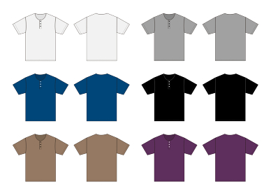 半袖 ヘンリーネック Tシャツ 絵型テンプレートイラスト