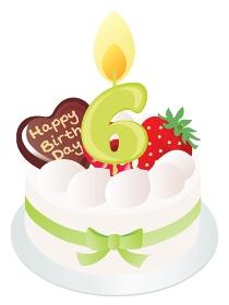白い生クリームのお誕生日ケーキと6歳の数字のキャンドル