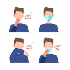 色々な咳エチケットのフラットデザイン