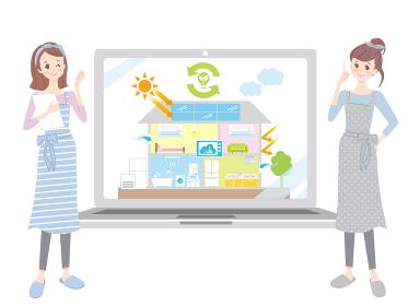 パソコンの画面を見ながらIOTについて勉強する女性