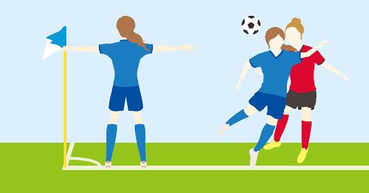 サッカーをする女性シンプルセット03