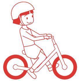 幼児用キックバイク ヘルメット人物女児女の子バランスバイクの線画イラスト自転車運動のイメージ