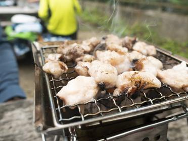 山で調理するBBQ炭火高級和牛焼肉【ホルモン】
