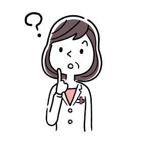 ベクター素材:考える、疑問を持つ中年女性医師