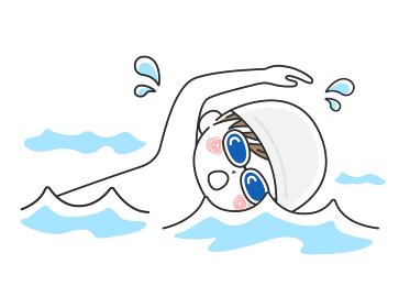 プールで泳ぐ男性のイラスト