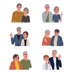 中高年の男女 シニア 夫婦 イラスト 上半身 セット