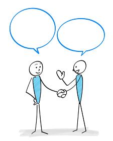 人物とコミュニケーションシーン(握手)