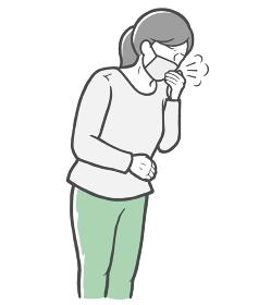 マスクを着用し、口を手で押さえて咳をする長袖を着た若い女性