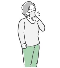 マスクをした状態で、のどの痛みを感じる長袖を着た中年女性