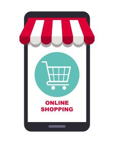 オンラインショップコンセプト、スマートフォン、ショッピングカート