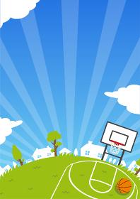 背景素材 /青空と草原(スポーツ・バスケットボール) A4縦 バナー イラスト(テキストスペース)