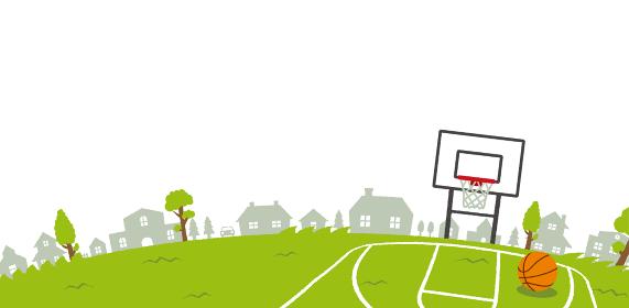 背景素材 /青空と草原(スポーツ・バスケットボール) 横長バナー イラスト(テキストスペース)