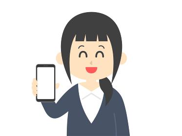 スマートフォンの画面を見せる女性のイラスト