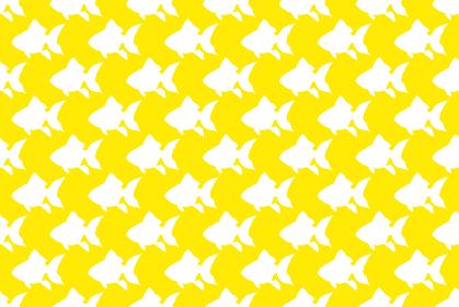 金魚のシルエットの黄色の背景イラスト