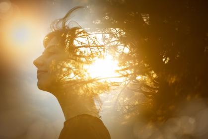 女性の横顔と木漏れ日の合成CG