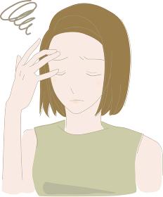 心配事で頭に手を当てている元気のない女性