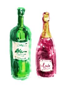 ワインボトルが黄緑とワインレッドの2本の手描き、水彩風イラスト