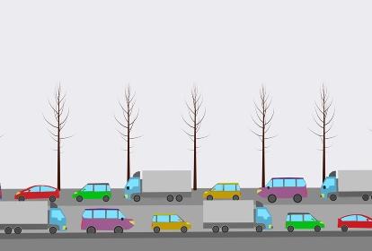 冬の日に大渋滞の道を走行する自動車、3Dレンダリング