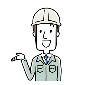 イラスト素材:作業服を着た若い男性、紹介、案内