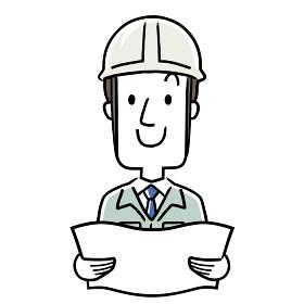 イラスト素材:作業服を着た若い男性、設計図