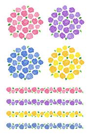 バラの花束と装飾ラインセット