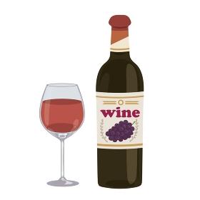 赤ワイン イラスト ワイン瓶 グラス