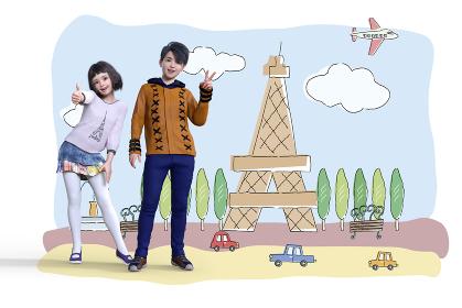 パリのエッフェル塔の背景イラストの前でグッドサインとピースサインをする少年少女