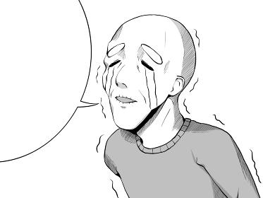 漫画風_悲しくて泣くおじいさん_横_吹き出し