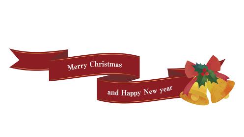 流れるリボンとベルの装飾(レッド)クリスマスデコレーション