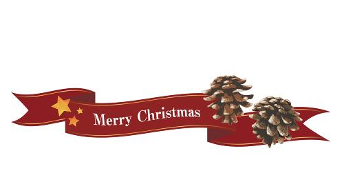 流れるリボンと松ぼっくりの装飾(レッド)クリスマスデコレーション