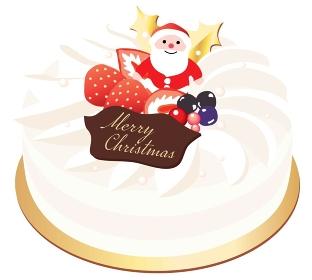 サンタの飾りの生クリームのクリスマスケーキ