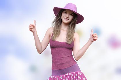 観覧車を背景にピンクの帽子をかぶったロングヘアの女の子がピンクのキャミソールと生地がピンクのマーガレットの花柄のスカートを着用し両手の親指を立ててグッドサインをしている