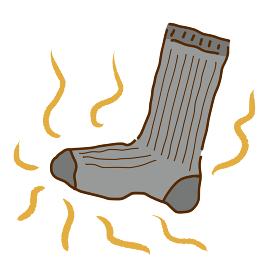 悪臭を放つ靴下の線画イラスト