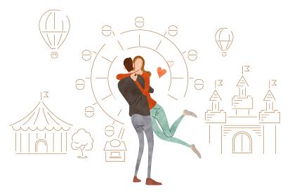 イラスト素材:抱きしめる若いカップル