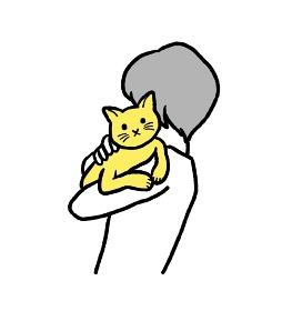 猫を抱っこする人のイラスト