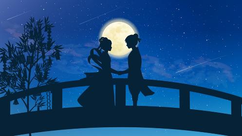 七夕 織姫と彦星の再会 風景イラスト