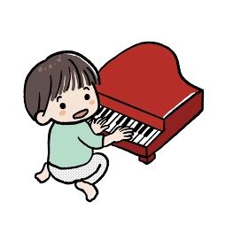 おもちゃのピアノを弾く男の子のイラスト