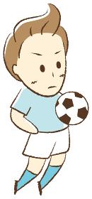 サッカーをする少年 胸トラップ