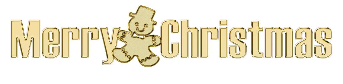 金色のメタリックのレリーフ状のゴシック体のメリークリスマスのロゴ ジンジャーマン