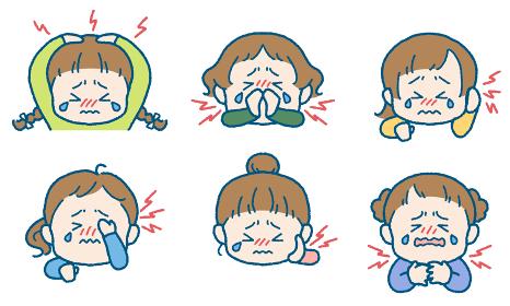 痛がる女の子のイラストセット(頭・鼻・耳・目・頬/歯・首/喉)